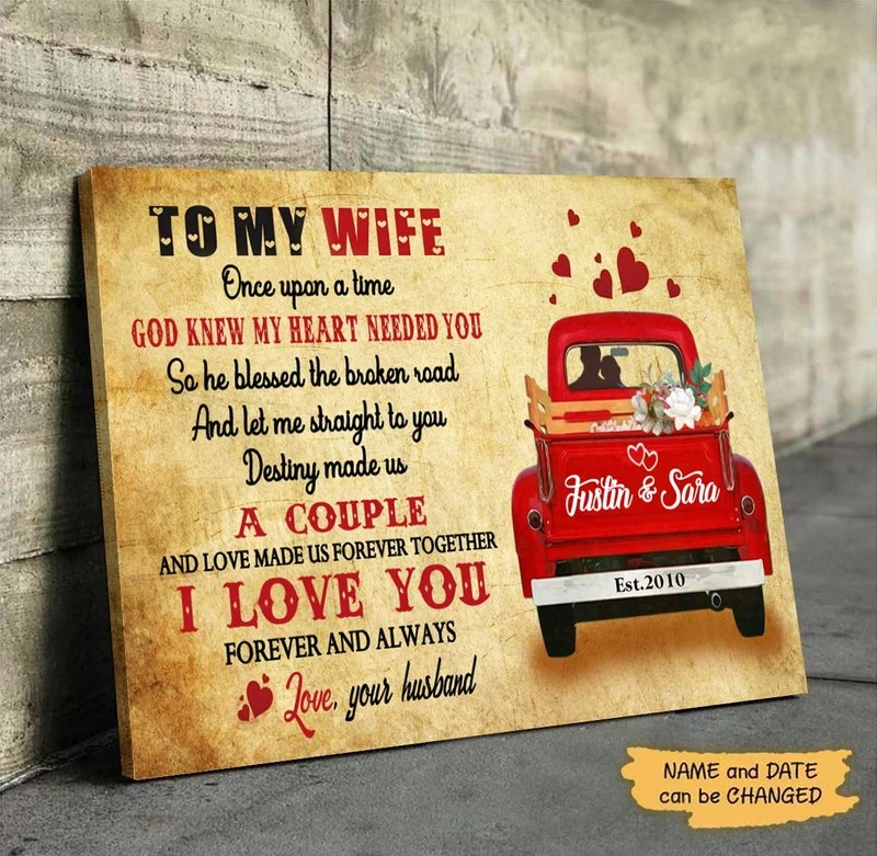 Personalized To my wife once upon a time god knew my heart needed you canvas 1