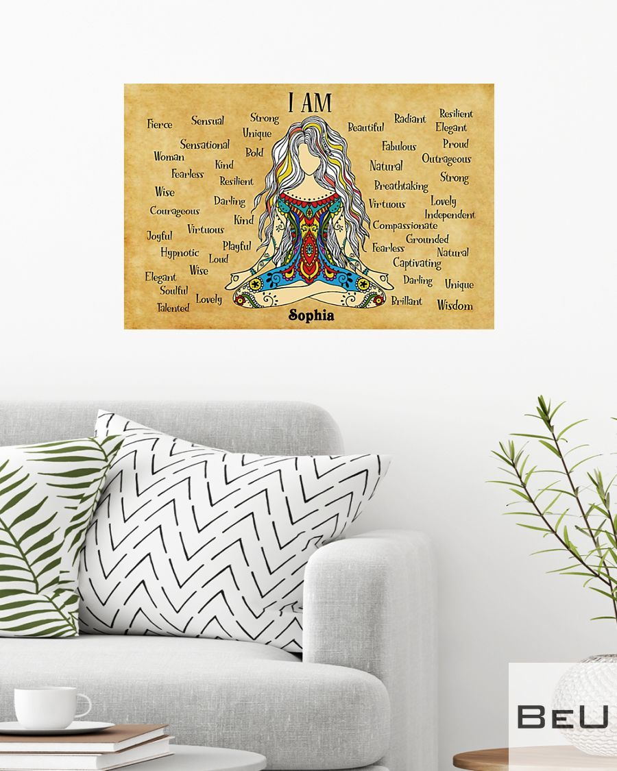 Personalized Yoga I am strong unique bold beautiful kind poster2