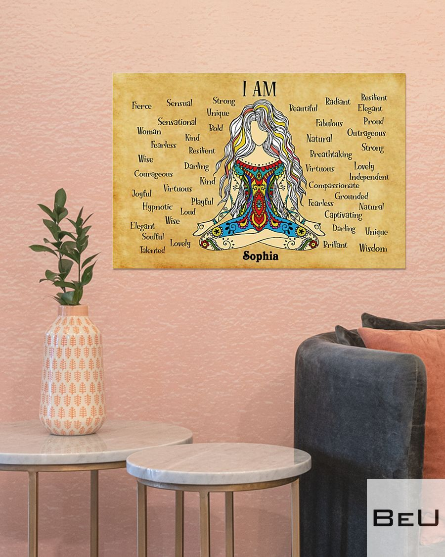 Personalized Yoga I am strong unique bold beautiful kind poster4