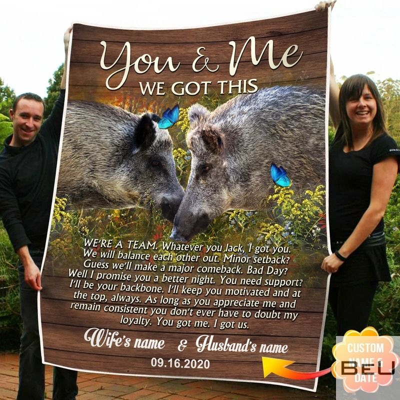 Personalized You And Me We Got This Boar Fleece Blanket_result