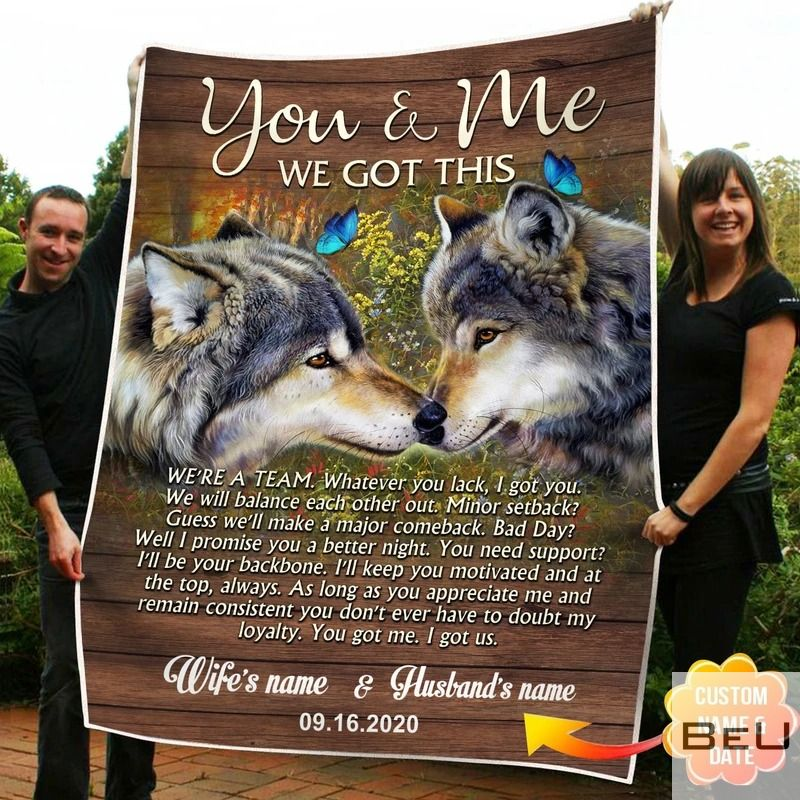 Personalized You And Me We Got This Wolf Fleece Blanket_result