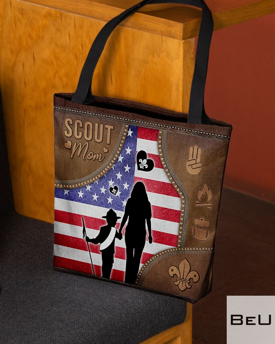 Scout Mom as leather tote bag2