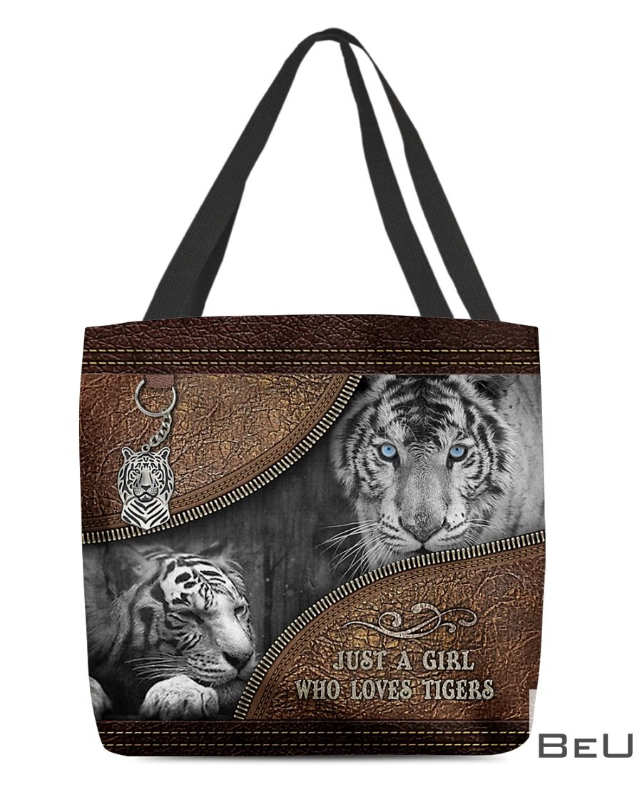 A Girl Who Loves Tigers Leather Tote Bag