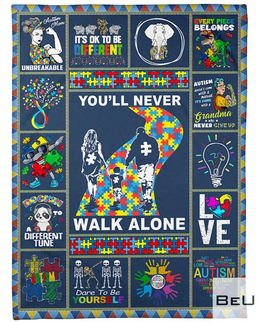 Autism You'll never walk alone fleece blanket