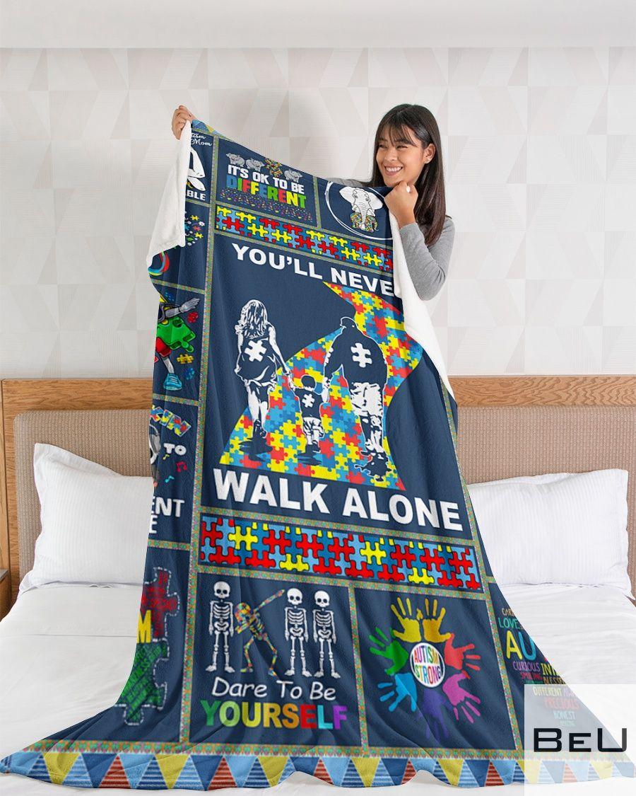 Autism You'll never walk alone fleece blanket3