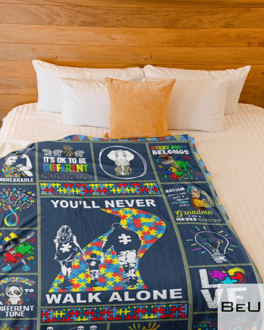 Autism You'll never walk alone fleece blanket4