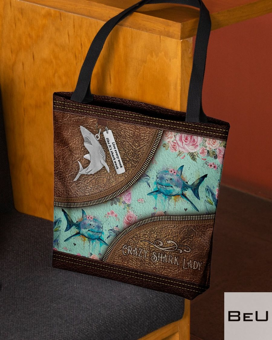 Floral Crazy Shark Lady as Leather tote bagz