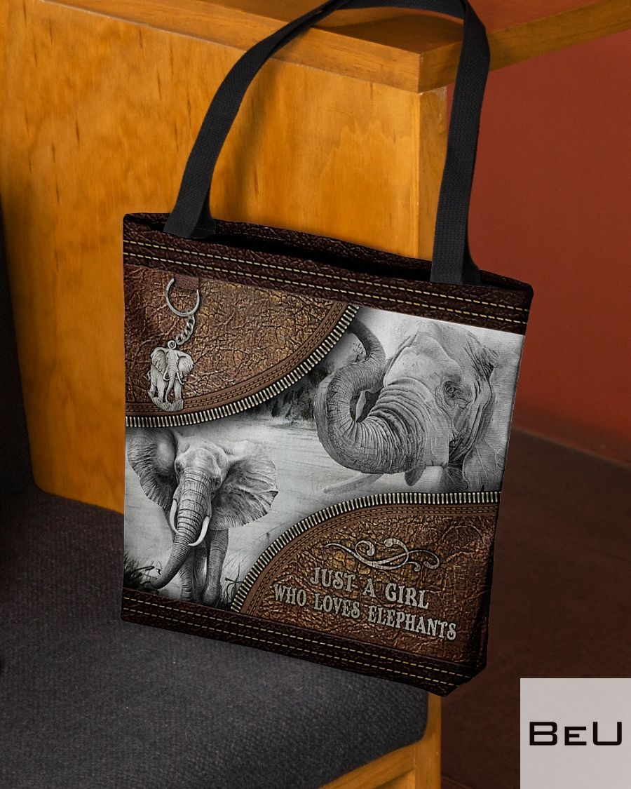 Just A Girl Who Loves Elephant Leather Tote Bag2