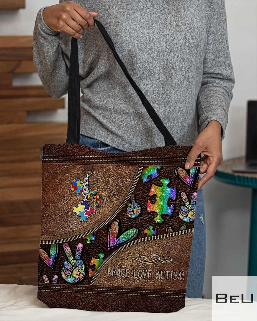 Peace Love Autism Leather Pattern Tote Bagx