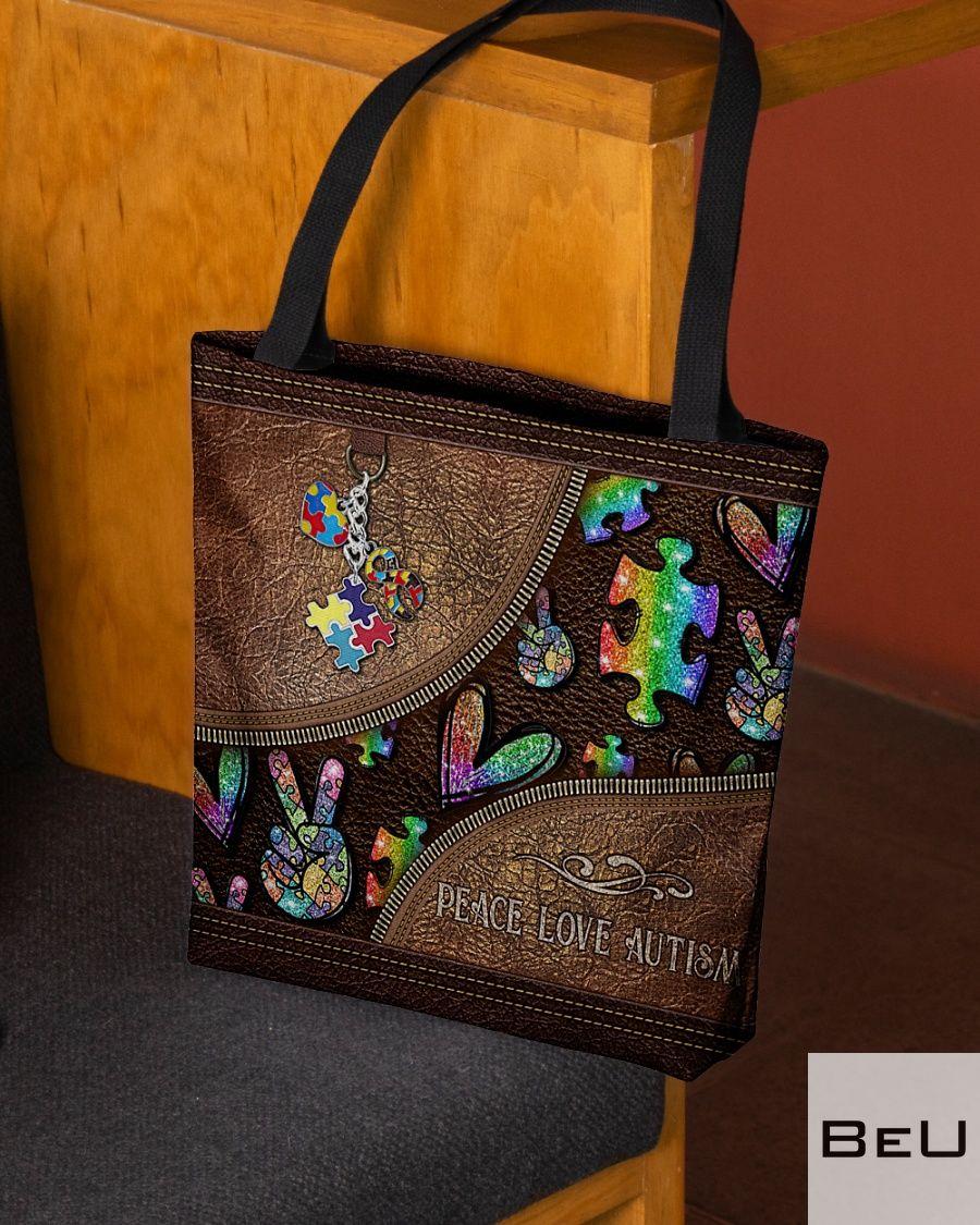 Peace Love Autism Leather Pattern Tote Bagz