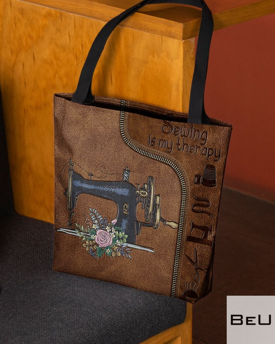 Sewing Is My Therapy Leather Pattern Tote Bag2