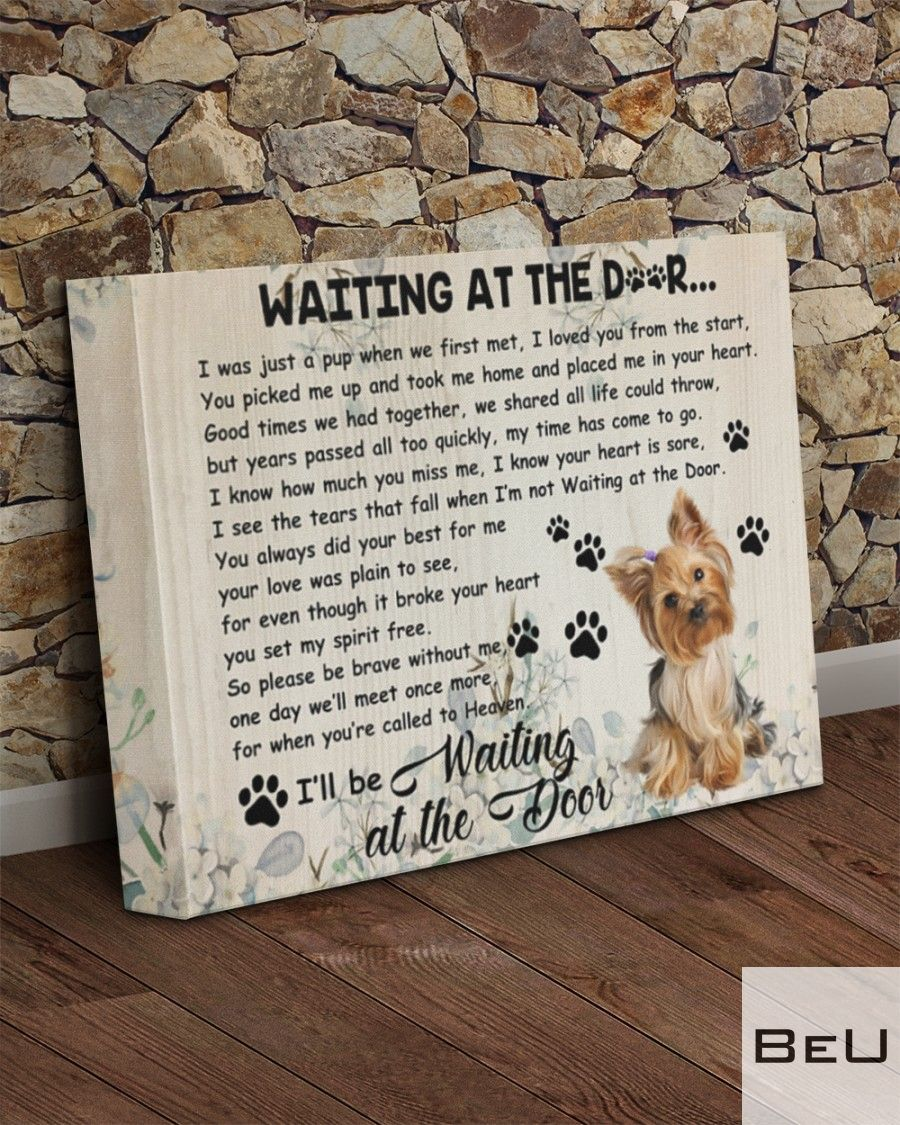 Yorkshire Terrier Waiting At The Door Canvasv