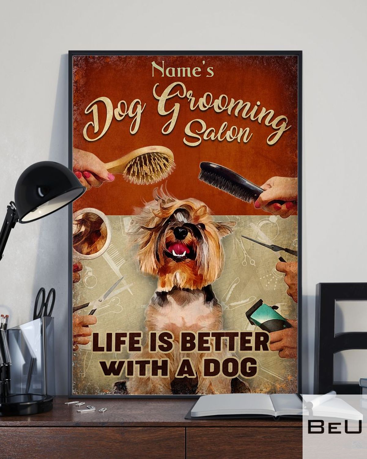 Personalized Dog Grooming Salon life is better with a dog posterx
