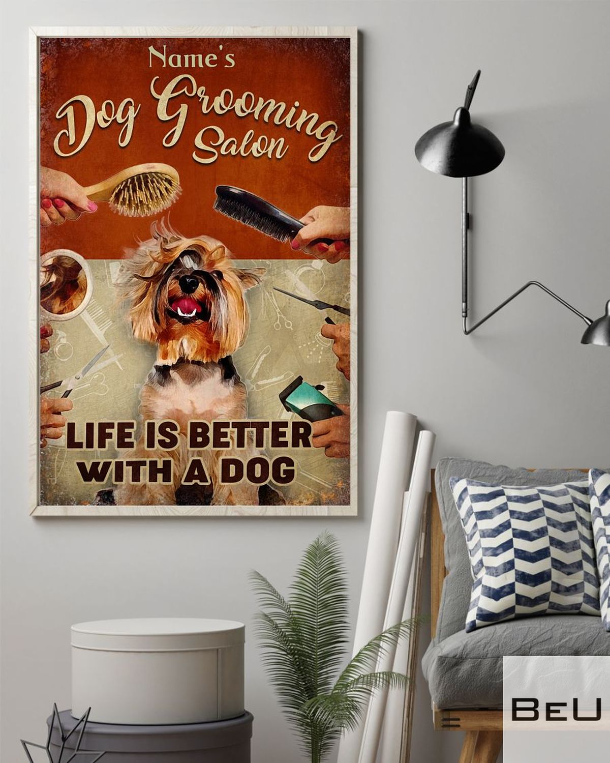 Personalized Dog Grooming Salon life is better with a dog posterz