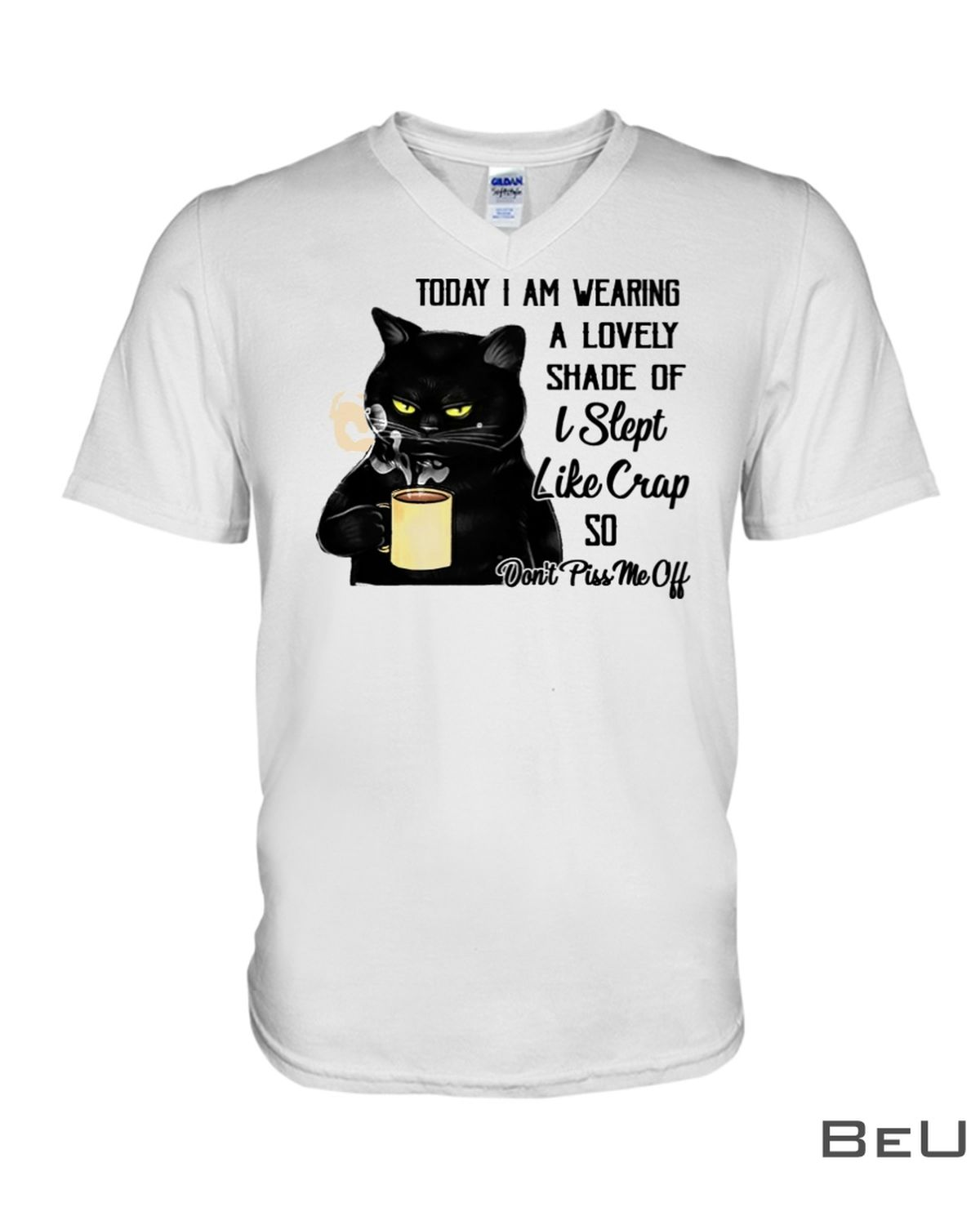 Cat oday I Am Wearing A Lovely Shade Of I Slept Like Crap So Don't PissMe Off Shirtz
