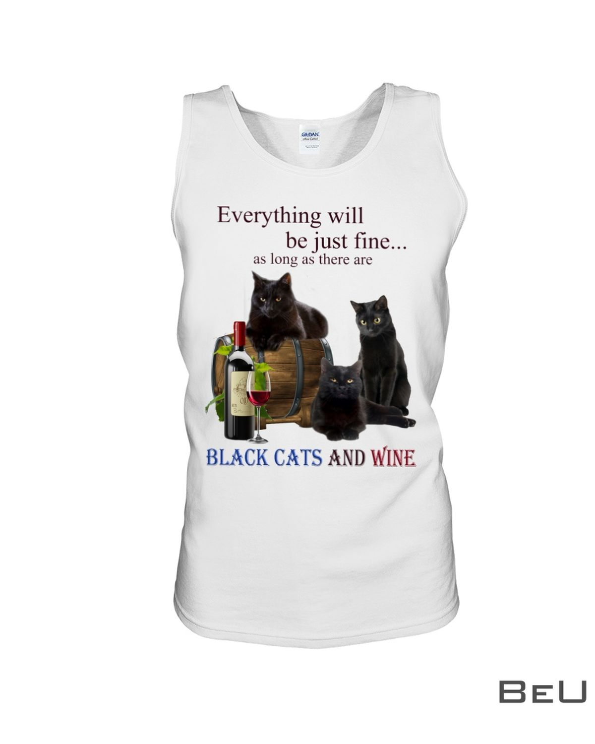 Everything Will Be Just Fine As Long As There Are Black Cats And Wine Shirtc