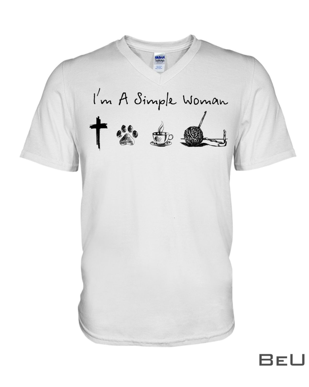 I'm A Simple Woman Who Loves Jesus Dog Coffee And Crocheting Shirtx