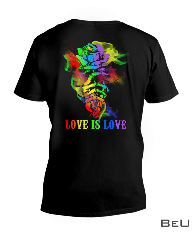 LGBT Hand Skull Rose Love Is Love Shirt z