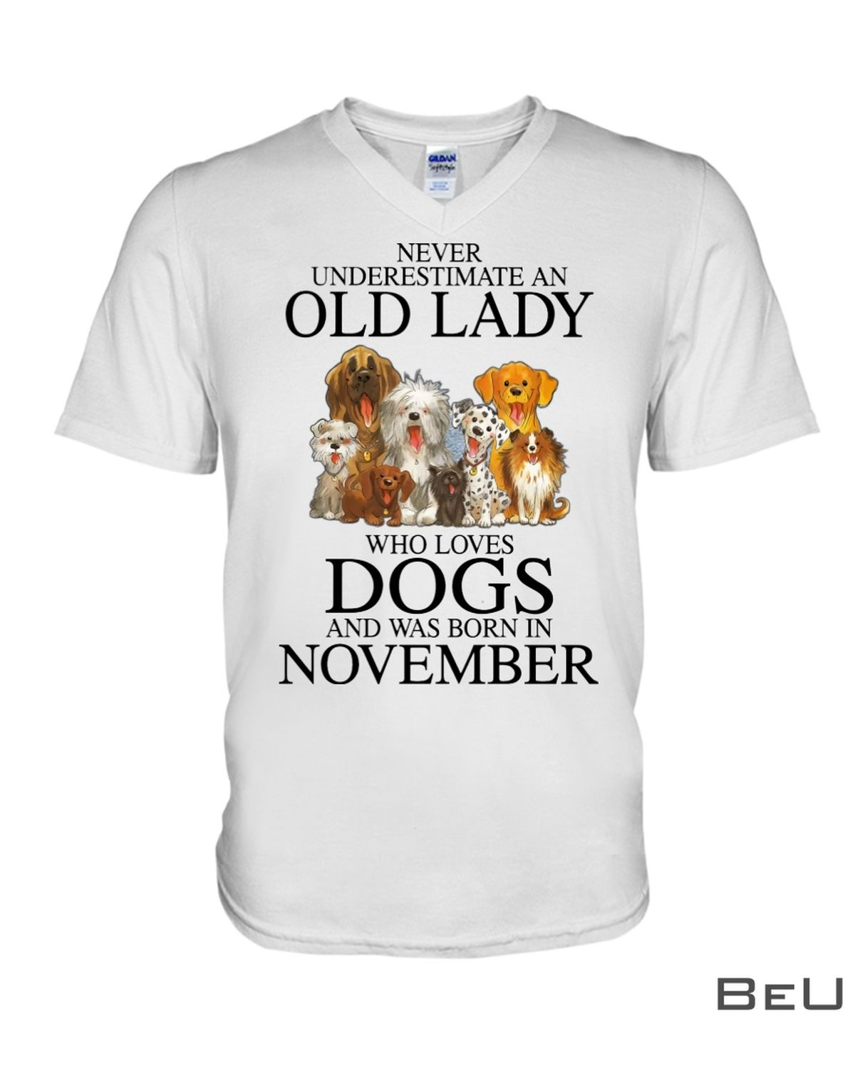 Never Underestimate A November Old Lady Who Loves Dogs Shirtx