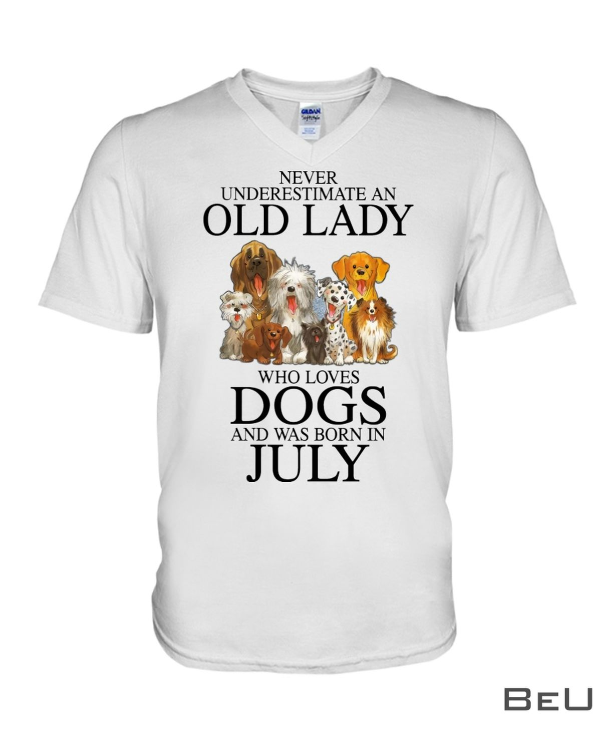 Never Underestimate An July Old Lady Who Loves Dogs Shirtx