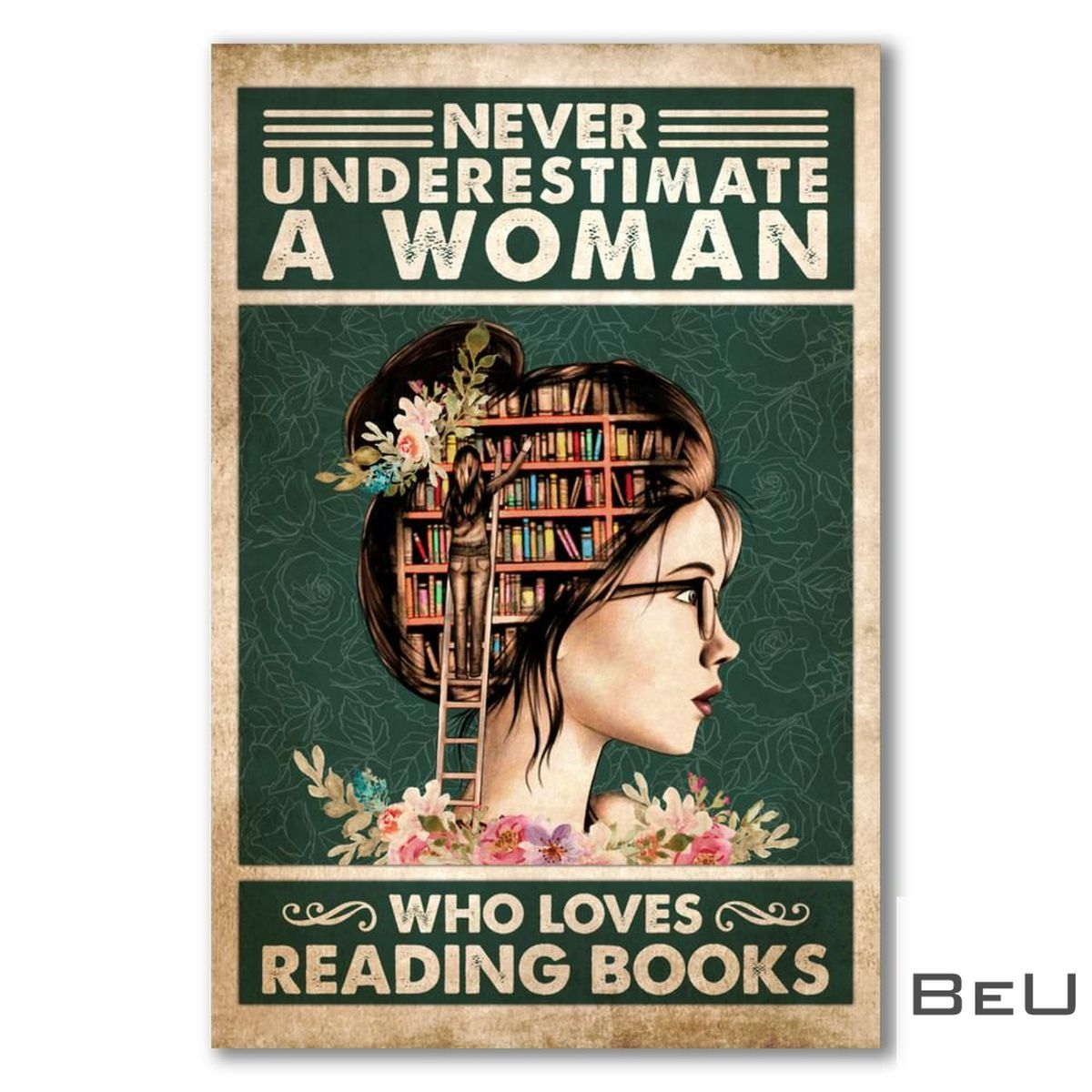 Never Underestimate A Woman Who Loves Reading Books Poster
