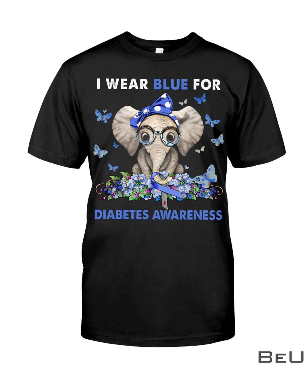 Elephant I Wear Blue For Diabetes Awareness Shirt