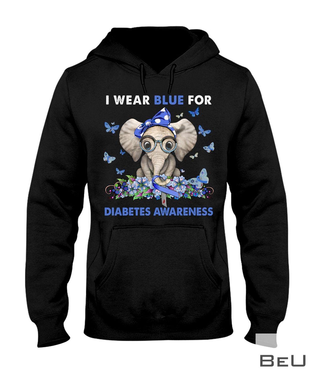 Elephant I Wear Blue For Diabetes Awareness Shirt z