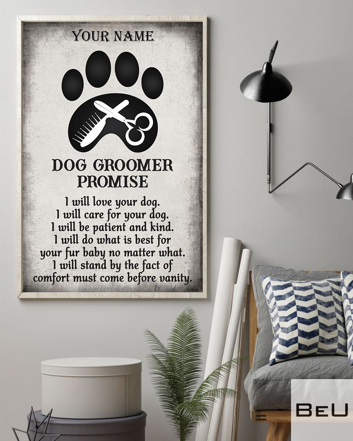 Personalized Dog Groomer Promise I Will Love Your Dog Posterz