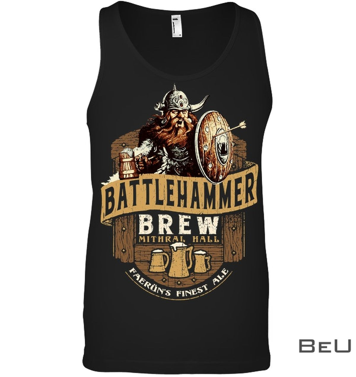Battlehammer Brew Mithral Hall Faerun Finest Ale Shirtx