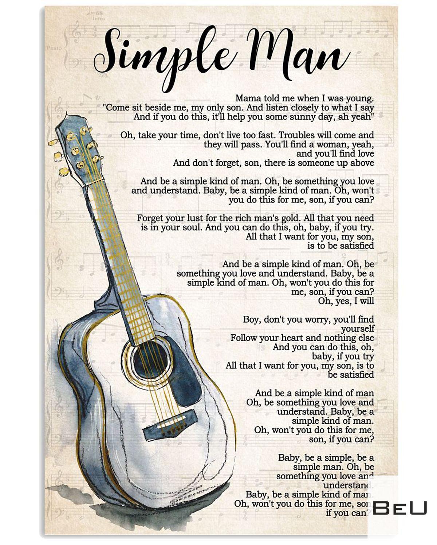 Adorable Guitar Simple Man Song Lyrics Poster