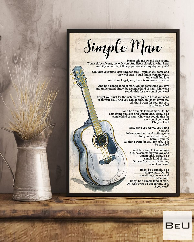 Best Gift Guitar Simple Man Song Lyrics Poster