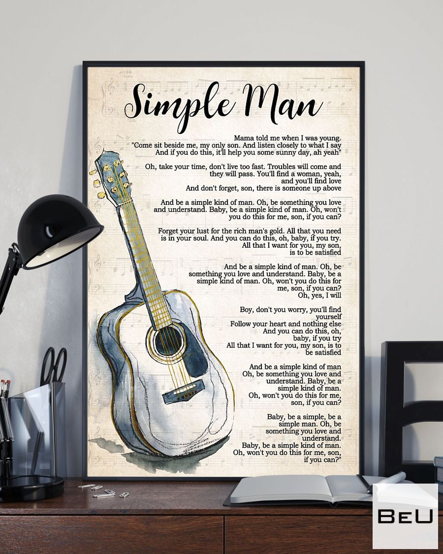 Review Guitar Simple Man Song Lyrics Poster