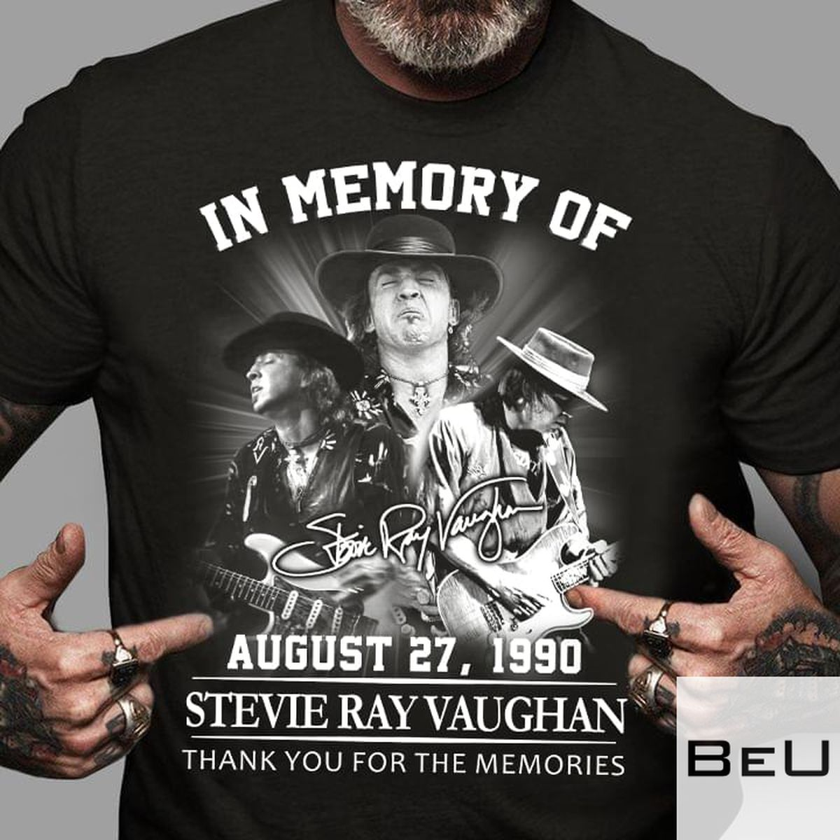 In Memory Of August 27 1990 Stevie Ray Vaughan Thank You For The Memories Shirt v