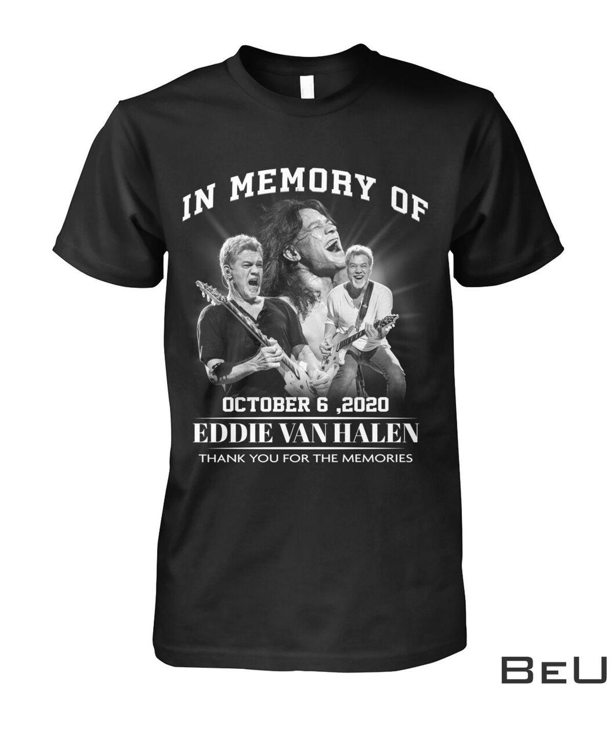 In Memory Of October 6 2020 Eddie Van Halen Thank You For The Memories Shirt