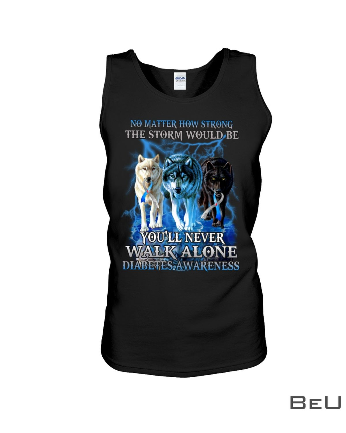 No Matter How Strong The Storm Would Be You'll Never Walk Alone Diabetes Awareness Shirtc