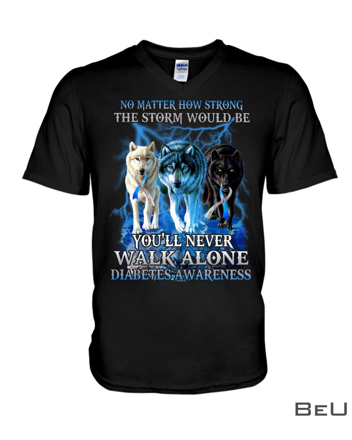 No Matter How Strong The Storm Would Be You'll Never Walk Alone Diabetes Awareness Shirtx