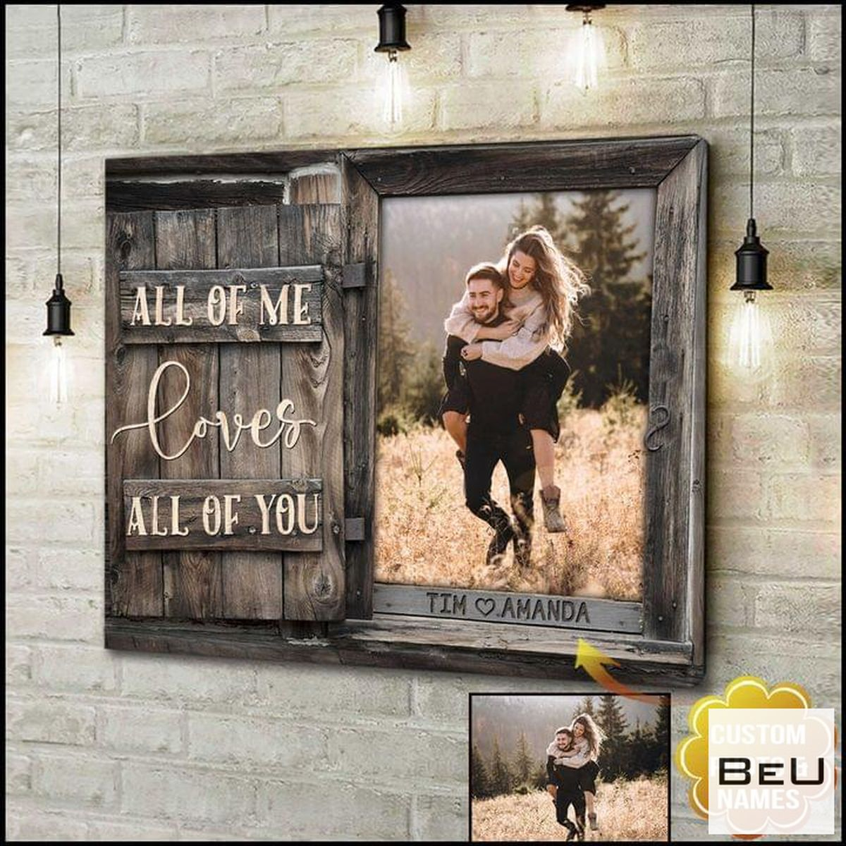 Personalized All Of Me Loves All Of You Couple Canvas