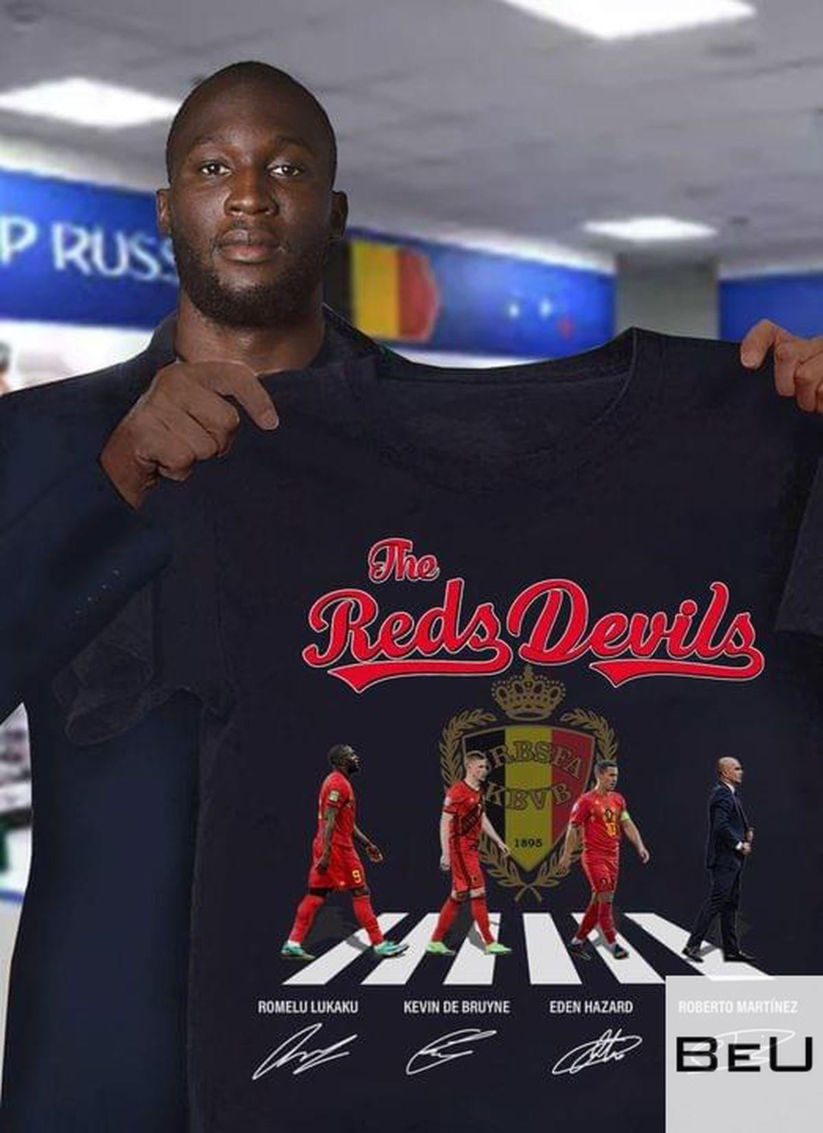 The Reds Devils Romelu Lukaku Kevin De Bruyne Eden Hazard Roberto Martinez Shirtc