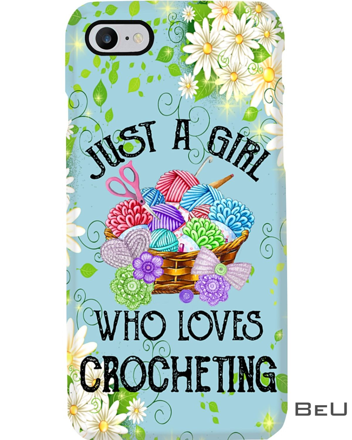 A girl who loves Crocheting phone case