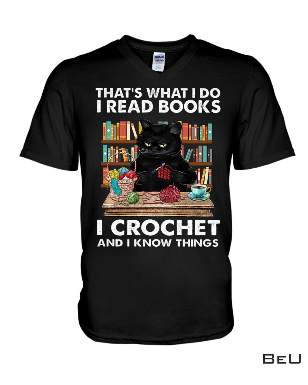 Esty Black Cat That's What I Do I Read Books I Crochet Shirt, hoodie