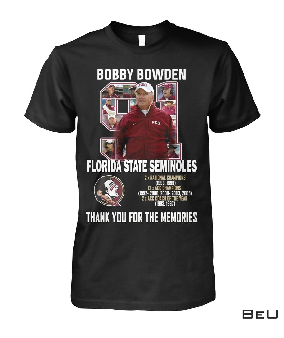 Popular Bobby Bowden Florida State Seminoles Thank You Shirt, hoodie, tank top