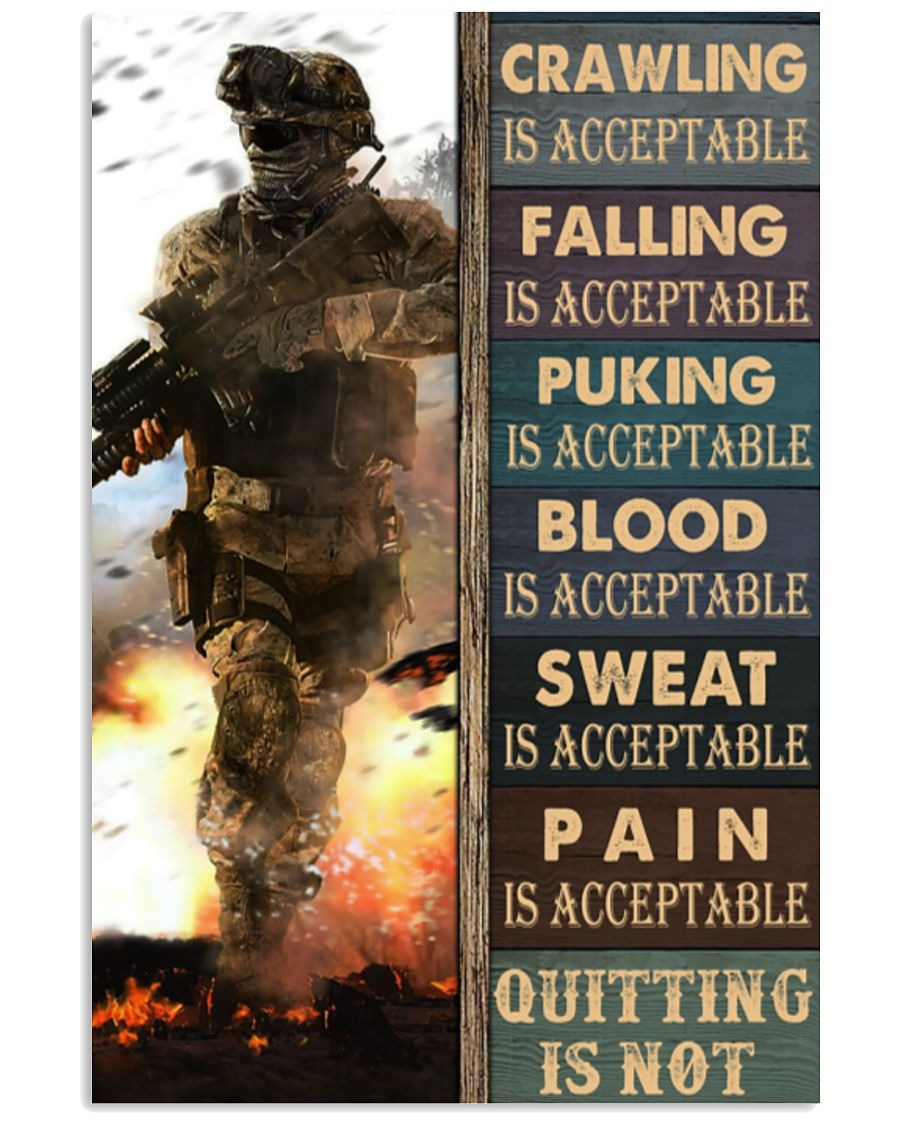 Crawling Falling Is Acceptable Quitting Is Acceptable Puking Is Acceptable Quitting Is Not Poster