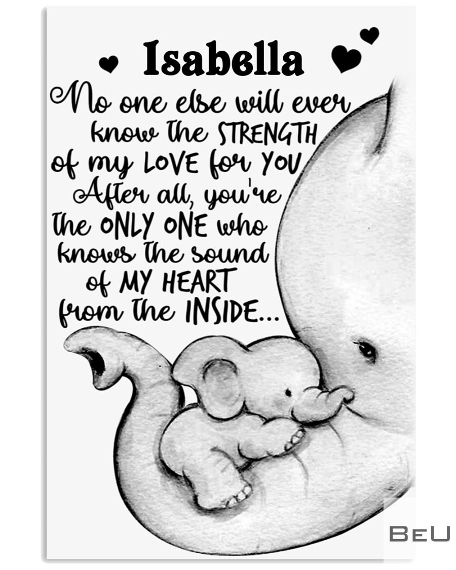 Custom Name Baby Elephant No One Else Will Ever Know The Strength Of My Love For You Personalized Poster_result