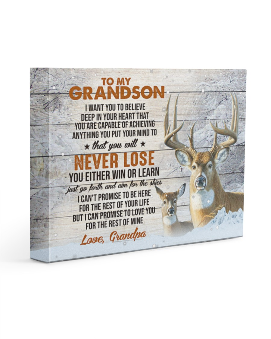 Deer To my grandson I want you to believe deep in your heart that you are capable of achieving anything gallery wrapped canvas