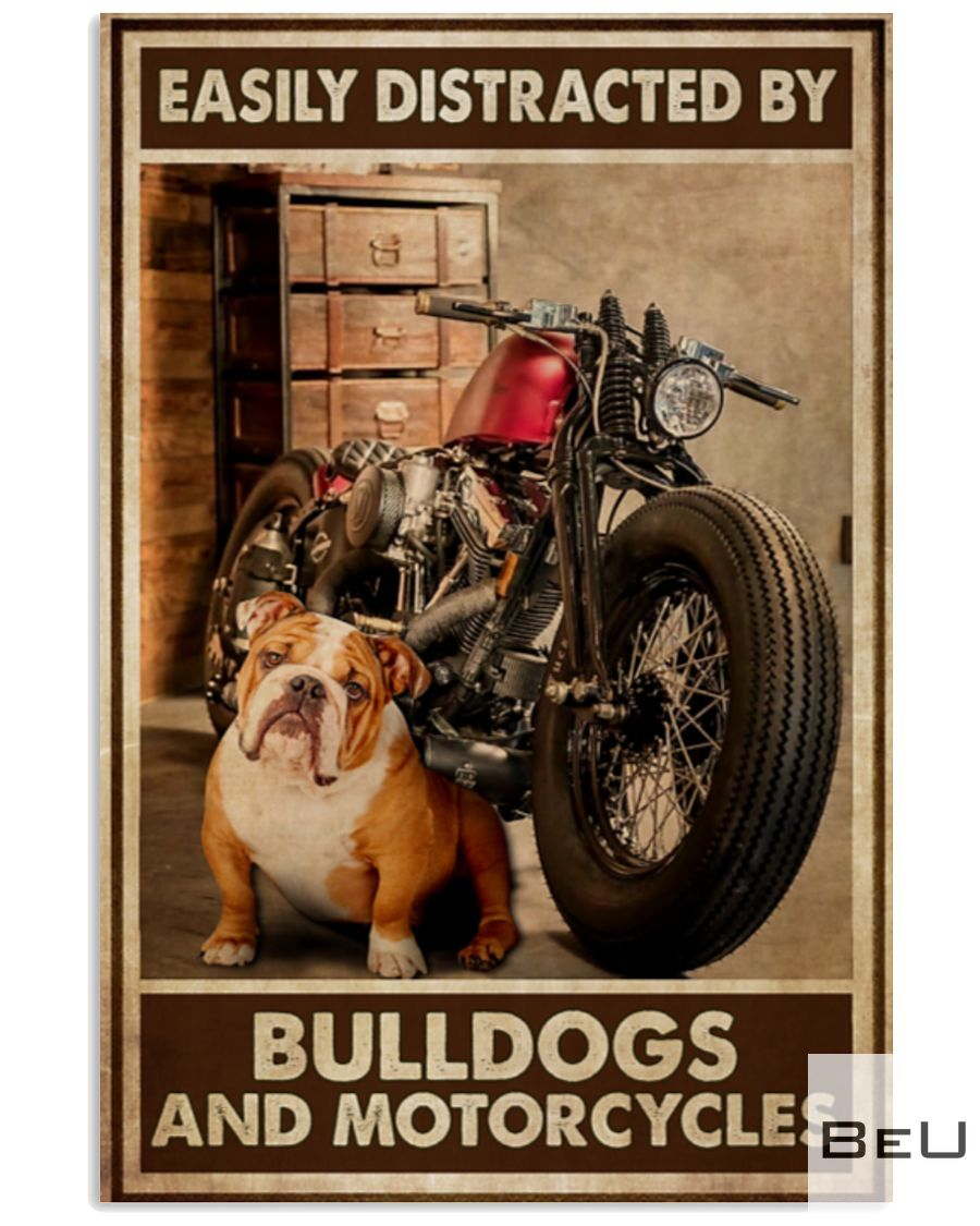 Easily Distracted By Bulldogs And Motorcycles Poster_result