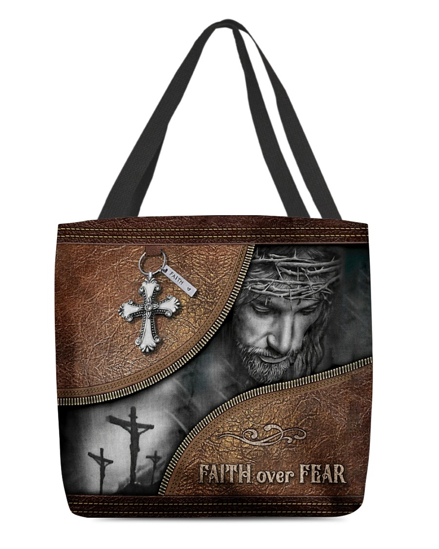 Faith Over Fear Christ Leather Pattern Tote Bag
