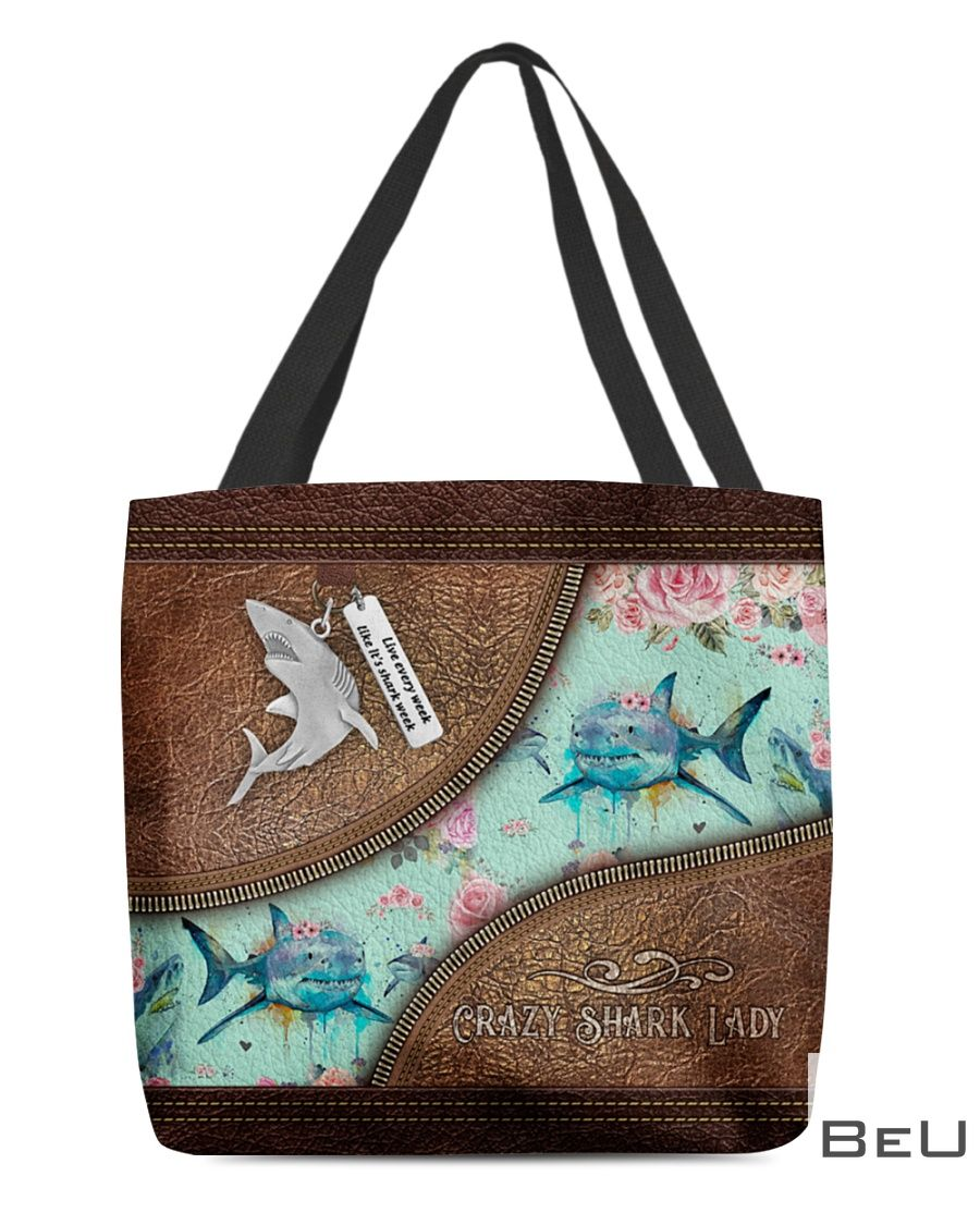 Floral Crazy Shark Lady as Leather tote bag
