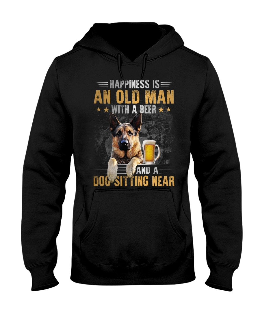 German Shepherd Happiness is an old man with a beer and a dog sitting near t-shirt