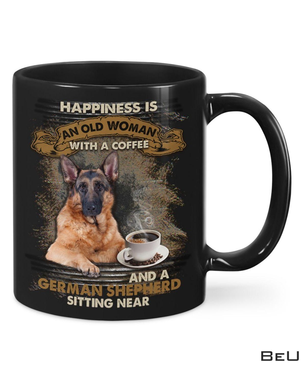 German Shepherd Sitting Near A Woman With Coffee Mug