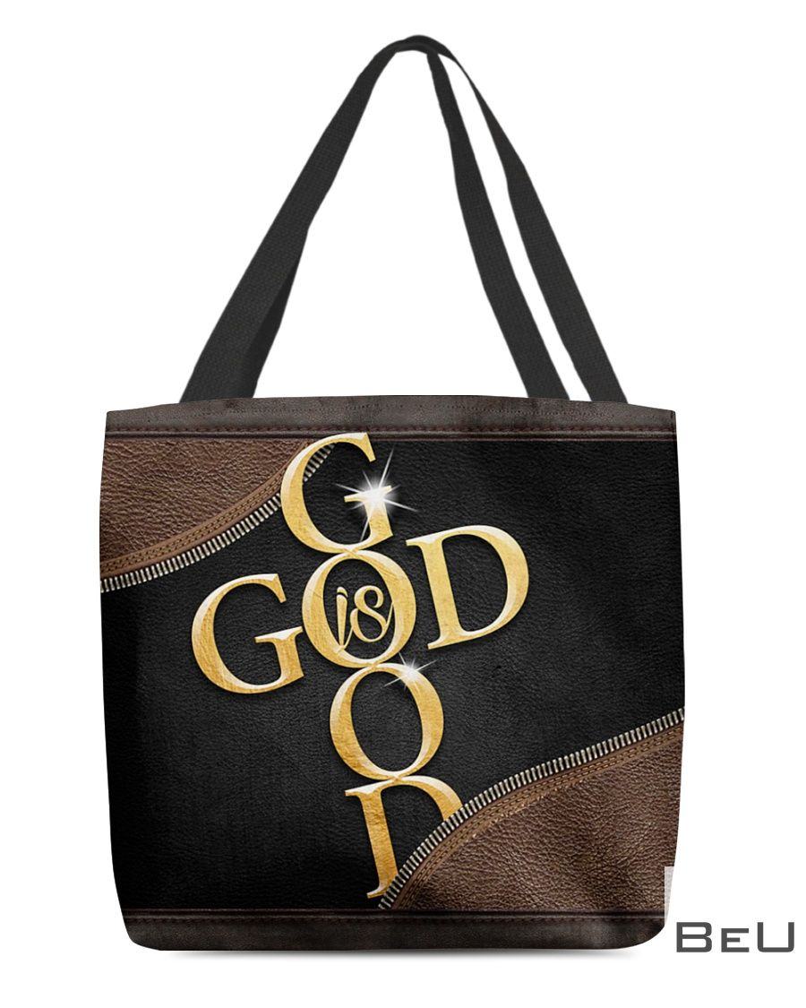 God Is Good as Leather tote bag